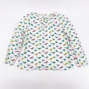Girls' Mini Boden Colorful Bird Print Top